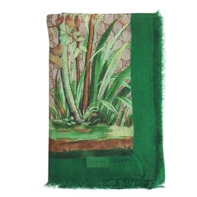 【正品二手99新】古馳(GUCCI)女士花鳥樹木印花配綠邊絲巾 奢侈品