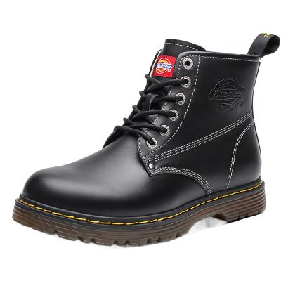 Dickies馬丁靴男2019秋冬新款圓頭黑色皮靴真皮側拉鏈情侶工裝靴子194M50LXS28H