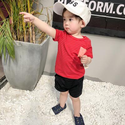 宝宝短袖T恤夏装新款童装条纹儿童上衣男0-3个月婴儿打底衫潮