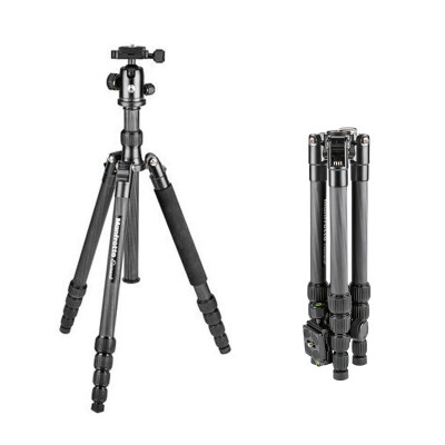 曼富圖MKELES5CF-BH碳纖維旅行三腳架便攜反折單反相機微單支架
