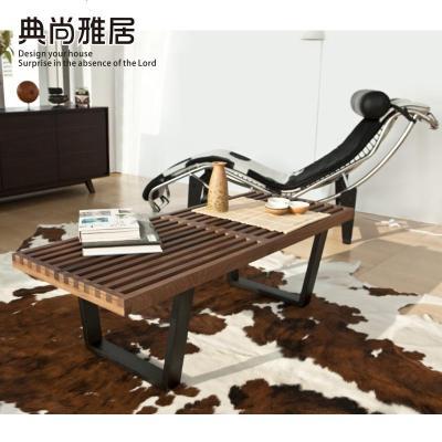航竹坊 NelsonBench尼爾森設計水曲柳實木長凳鋼化玻璃茶幾服裝店換鞋凳