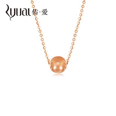 Ryual 18K金項鏈玫瑰金女士吊墜套鏈彩金轉運珠鎖骨項鏈 黃金計價款送戀人女友情人節禮物