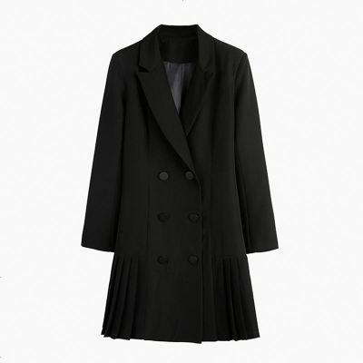 黑色长款西装外套女2019秋季新款双排扣英伦风百褶裙摆中长小西服