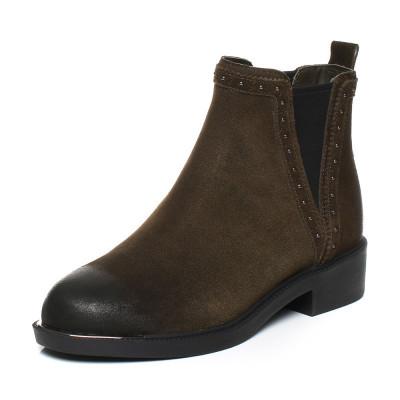 Teenmix/天美意冬專柜同款二層牛皮切爾西靴女短靴CAY40DD7