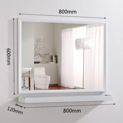 浴室镜壁挂卫浴洗漱洗手间置物架卫生间镜子浴室梳妆镜双面打孔美容梳妆台挂墙洗手盆60*80镜子+80*12置物架其他