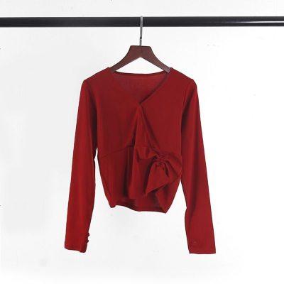 舞蹈服装练功服女修身长袖拇指扣上衣现代舞古典舞演出形体服新款