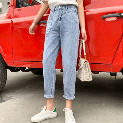 WOWF直筒修身牛仔褲女寬松哈倫2020新款春夏季高腰闊腿蘿卜泫雅風老爹小腳褲