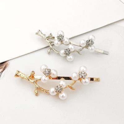 新款韩版风珍珠水钻仙美鹿角树枝发夹边夹刘海夹发饰头饰品