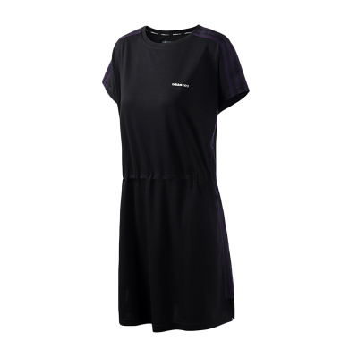 adidas阿迪达斯NEO女装运动休闲黑色圆领短袖连衣裙DW7789