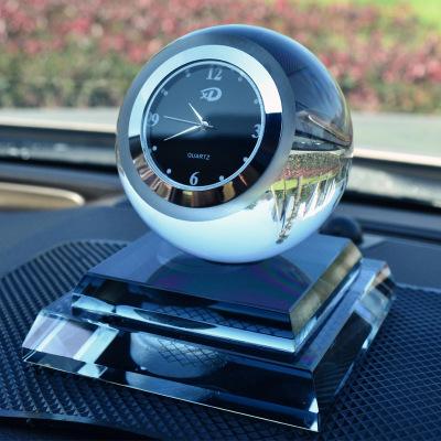 车大地 汽车水晶香水座 水晶球带钟表汽车香水座 汽车创意礼品摆件内饰品 车上内饰用品黑色款