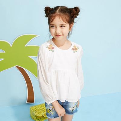 【1件3折价:48】moomoo童装女童娃娃衫春秋款儿童中大童洋气学生长袖上衣女衬衫