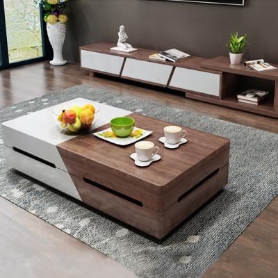 歐卡森(OUKASEN) 茶幾電視柜組合套裝 簡約現代木質伸縮茶桌多功能茶幾電視柜組合