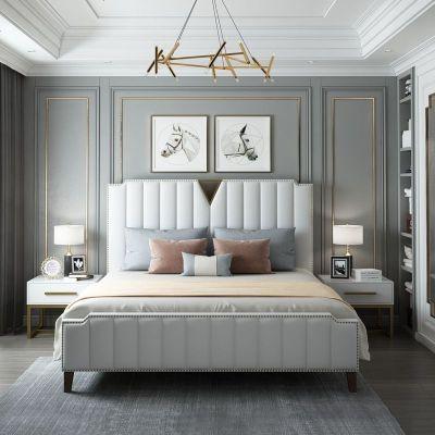 航竹坊 真皮床皮床1.8米后現代簡約皮床港式輕奢床美式雙人床北歐網紅床