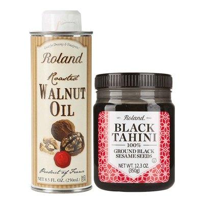 进口罗朗德婴幼儿黑芝麻酱350g+核桃油250ml营养辅食
