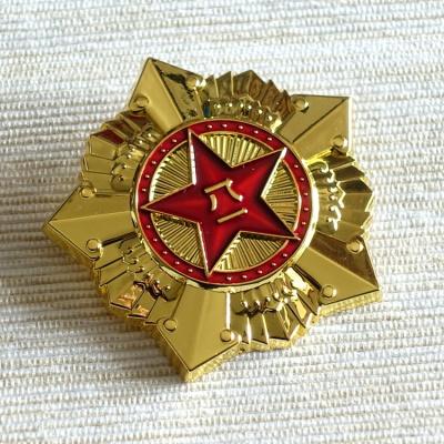 妙意新款定做高檔亮金色鍍金金屬八一勛章 五角星徽章參戰老兵紀念品