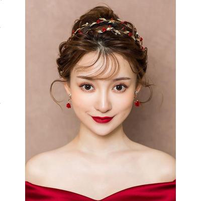雙層發帶+耳飾(耳夾款)紅色新娘頭飾森系仙美韓式發帶敬酒服禮服婚禮發飾結婚飾品配飾女