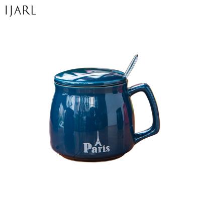 億嘉瓷魂系列創意早餐陶瓷馬克杯情侶咖啡杯牛奶杯帶蓋帶勺辦公杯水杯子