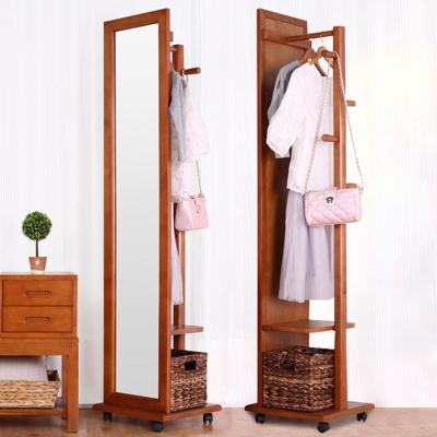 越茂實木穿衣鏡落地全身鏡子臥室旋轉試衣鏡簡約落地鏡歐式收納家居鏡 橡膠木制作 現代簡約風格