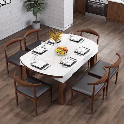 掌上明珠北歐餐桌餐椅組合多功能伸縮圓方桌大理石紋路可定制