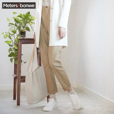 【1件3折价:39】美特斯邦威春装新款休闲裤女直筒裤甜美舒适萝卜裤潮商场款