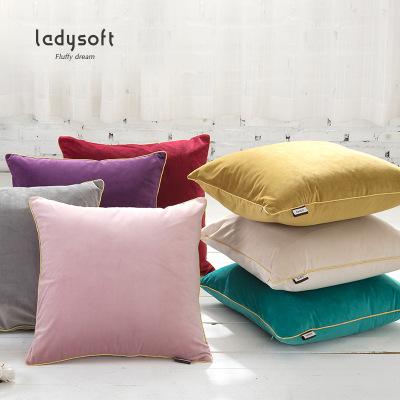 御棉堂(LADYSOFT) 韩国绒沙发抱枕45*45cm办公室靠枕午睡靠背床头靠垫套 可拆卸款