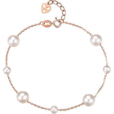 周大生珍珠手鏈女款正品18K玫瑰金AU750彩金細款淡水白色珍珠手鏈官方正品飾品 女士珠寶首飾