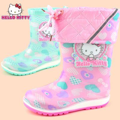 HelloKitty兒童雨鞋加絨秋冬款女童雨靴防滑寶寶保暖學生鞋膠鞋