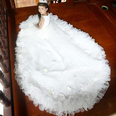 公主裙礼服儿童长拖尾钢琴演出服女童花童婚纱裙儿童拖尾长裙模特走秀表演裙