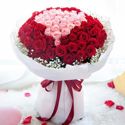 五二零 圣诞节鲜花速递全国生日表白祝福求婚礼物 99朵红粉玫瑰混搭花束 武汉长沙青岛徐州大连温州天津花店同城送花上门