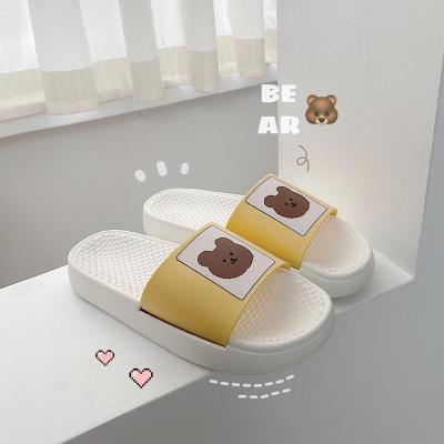 木木小棧(Mumuxiaozhan)拖鞋女可愛卡通熊休閑百搭時尚外穿一字拖居家室內浴室洗澡防滑厚底軟底涼拖鞋