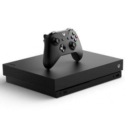 微軟(Microsoft) Xbox One X 家庭娛樂游戲機 4k超清 HDR高動態畫面 1TB存儲 黑色