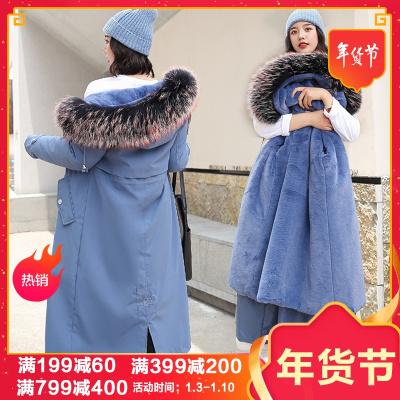 子沫雨JMOORY加绒内里派克服女中长款2020冬季新款大码女装两穿仿羊毛羔棉服外套