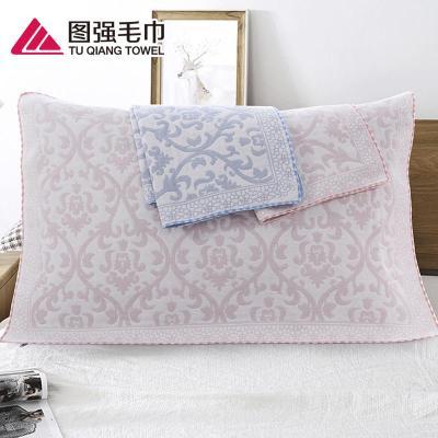 圖強 2條一對裝純棉紗布枕巾成人舒適透氣學生四季加大枕巾不掉色