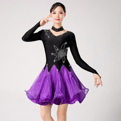 高端舞蹈三步踩裙新款女表演比賽演出服吉特巴舞蹈服裝倫巴舞裙廣場水兵舞