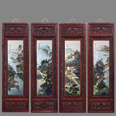 紅色鏤空實木框《江南園林美景》 見圖標注15mm厚板一套四副 景德鎮手繪陶瓷板畫四條屏掛畫中式仿古客廳裝飾畫鏤空實木框壁