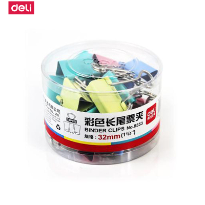 得力deli長尾夾8553彩色金屬票夾燕尾資料夾子桌面辦公多色可選適用廣泛 夾力強勁24只(32mm)