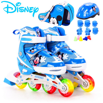 DISNEY/迪士尼旱冰鞋八輪全閃輪滑鞋通用兒童可調溜冰鞋鋁合金休閑鞋直排輪新豪華套裝