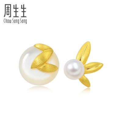 周生生(CHOW SANG SANG)黄金足金吉祥系列甘露耳钉89680E