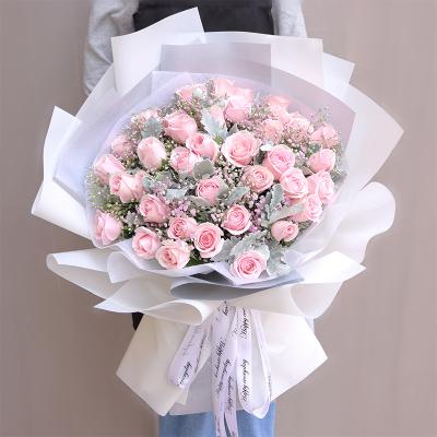 五二零 33朵粉雪山玫瑰花束礼物预定 生日鲜花速递全国 上海成都重庆杭州南京广州北京花店同城送花女朋友闺蜜爱人