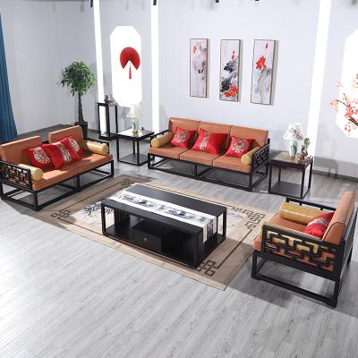 新中式实木沙发组合 现代中式客厅镂空禅意沙发别墅家具全屋定制
