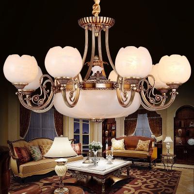 欧式云石灯客厅全铜云石吊灯欧式美式吊灯全铜高端别墅灯具定制 西班牙进口云石-10头017