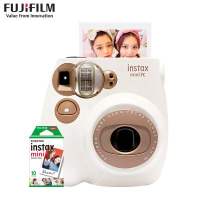富士(FUJIFILM)INSTAX 拍立得 膠片相機 一次成像 生日禮物 mini7c奶咖棕色套裝 含10張白邊相紙