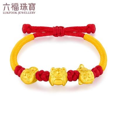 六福珠寶吉祥虎頭黃金手鏈手繩足金串珠兒童紅繩送禮計價HIGTBB0002