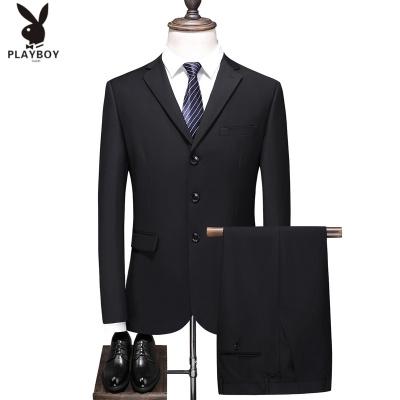 花花公子 ( PLAYBOY ICON )西服套裝男士外套上衣韓版修身學生伴郎商務休閑職業正裝兩件套西裝男