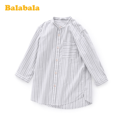 巴拉巴拉童裝男大童短袖襯衫中大童條紋上衣夏裝兒童簡約百搭時尚