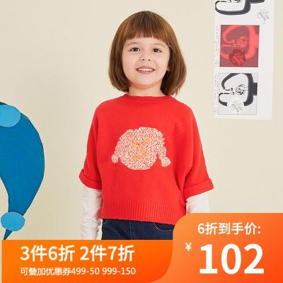 马拉丁童装女童毛衣秋装2019新款洋气设计斗篷蝙蝠袖红色毛针织衫