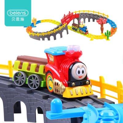 貝恩施(beiens) 軌道車托馬斯小火車 逼真燈光音樂汽笛聲 3-6歲兒童玩具 電動積木軌道火車玩具 多層立體拼接