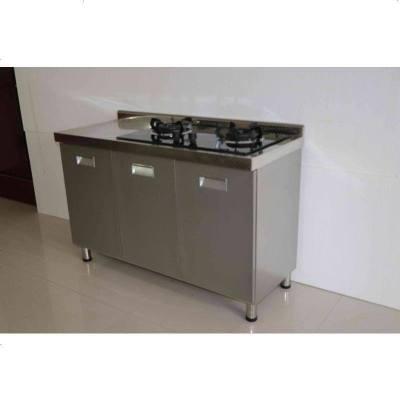 不銹鋼櫥柜定做整體304簡易農村廚房帶水槽灶臺移動式多功能 304三_原色灶臺柜