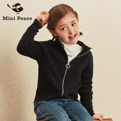 女童外套Mini Peace女童休闲针织衫拉链小高领儿童外套秋冬装新款