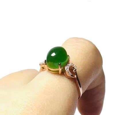 序壹(XUYI)925银镶和田玉碧玉戒指女士活口戒指简约个性时尚潮